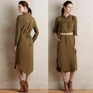 Maeve Drawstring Midi Shirt Dress 0 EUC
